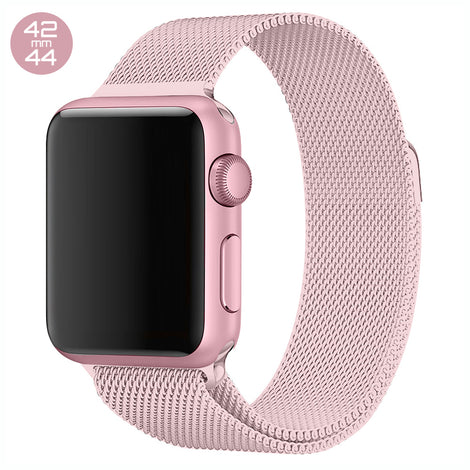 Pink iWatch Milanese Stainless Steel Loop Band 42/44mm