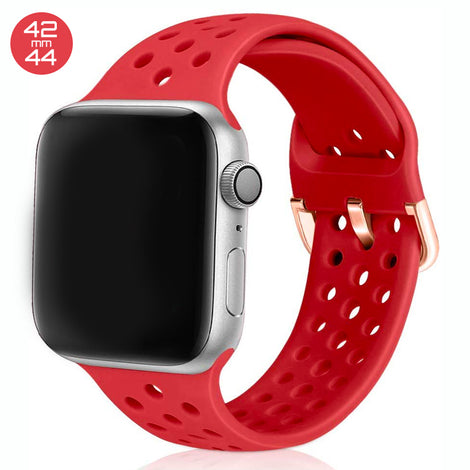 Red Breathable Silicone iWatch Band 42/44mm