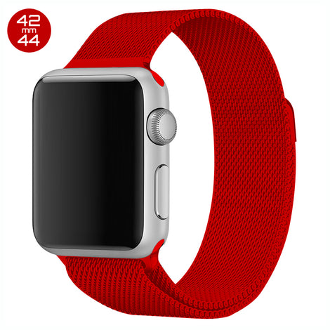 Red iWatch Milanese Stainless Steel Loop Band 42/44mm