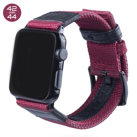 Red Nylon & Leather iWatch Band 42/44mm