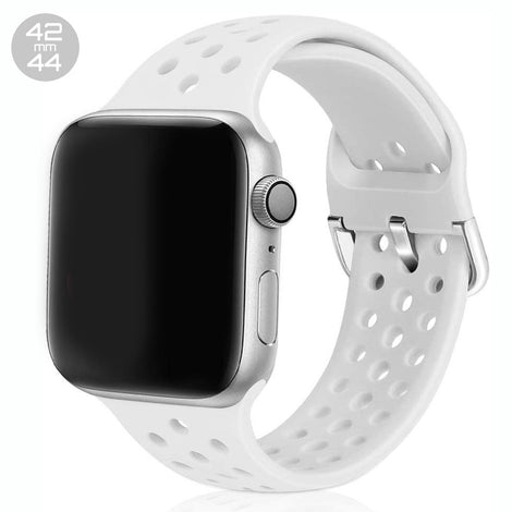 White Breathable Silicone iWatch Band 42/44mm