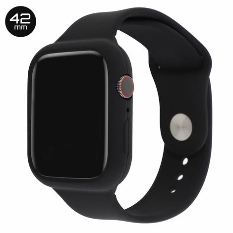 Black Silicone iWatch Band with Case 42mm