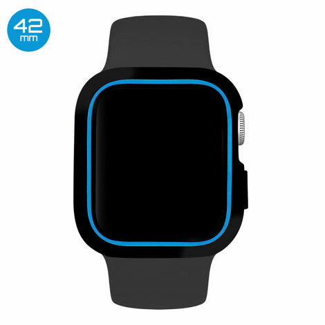 Black/Blue iWatch Silicone Case 42mm