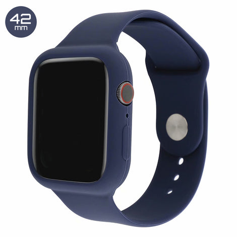 Dark Blue Silicone iWatch Band with Case 42mm