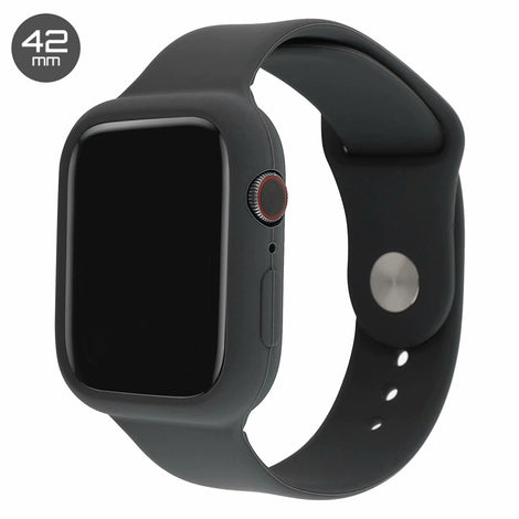 Dark Grey Silicone iWatch Band with Case 42mm