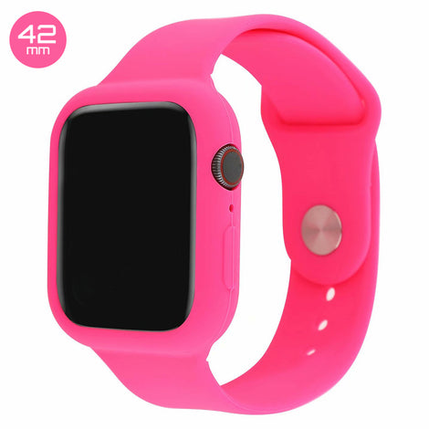 Pink Silicone iWatch Band with Case 42mm