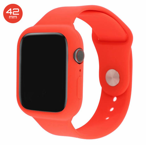Red Silicone iWatch Band with Case 42mm