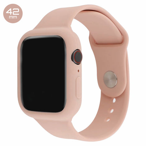 Rose Pink Silicone iWatch Band with Case 42mm