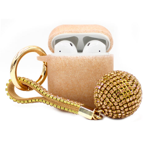 Brown Glitter Silicone with Diamond Keychain AirPod Case