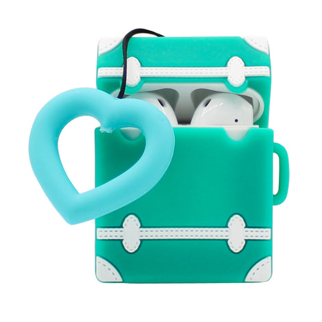 Green Heart Suitcase AirPod Case