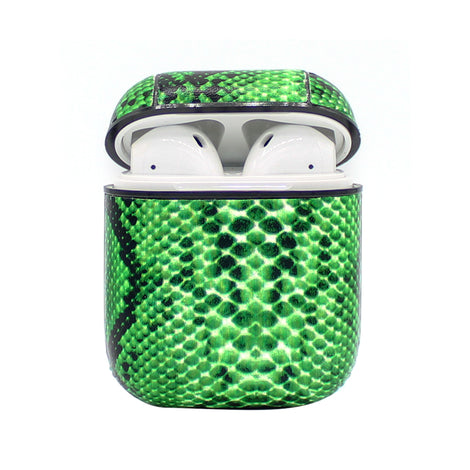 Green Snakeskin Leather AirPod Case