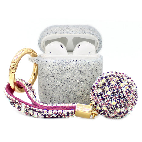 Grey Glitter Silicone with Diamond Keychain AirPod Case
