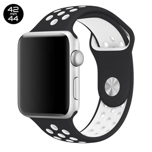 Black/White iWatch Sport Silicone Band 42/44mm
