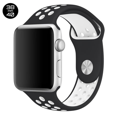 Black/White iWatch Sport Silicone Band 38/40mm