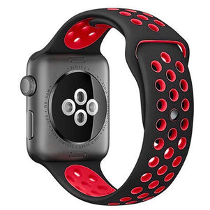 Black/Red iWatch Sport Silicone Band 42/44mm