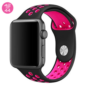Black/Pink iWatch Sport Silicone Band 42/44mm