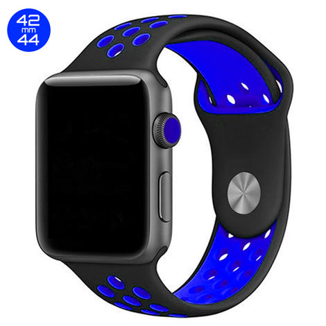 Black/Blue iWatch Sport Silicone Band 42/44mm