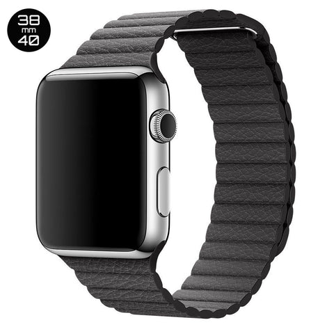 Black iWatch Leather Loop Band 38/40mm