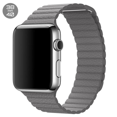 Grey iWatch Leather Loop Band 38/40mm