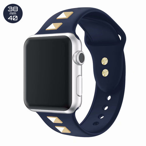 Dark Blue Double Rivet Silicone iWatch Band 38/40mm