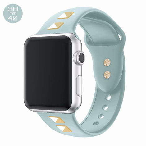 Mint Double Rivet Silicone iWatch Band 38/40mm