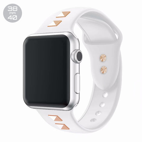 White Double Rivet Silicone iWatch Band 38/40mm