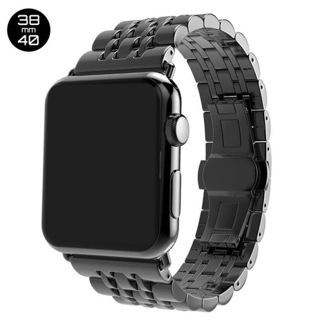 Black 7 Bead Stainless Steel iWatch Band 38/40mm