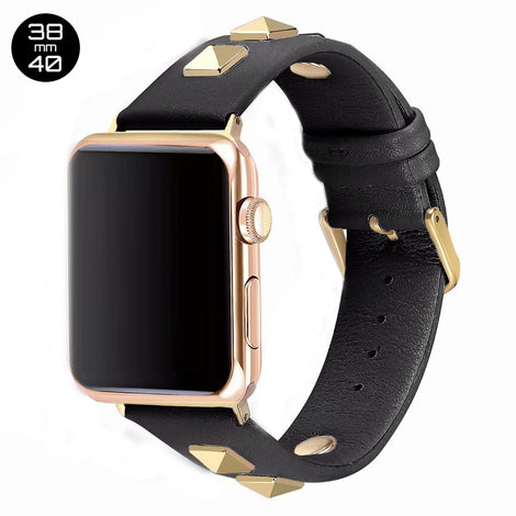 Black Rivet Leather iWatch Band 38/40mm