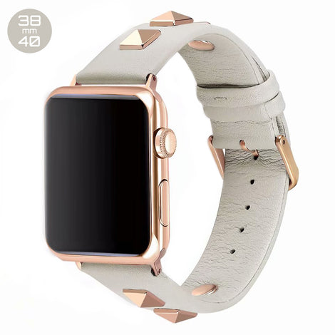 White Rivet Leather iWatch Band 38/40mm