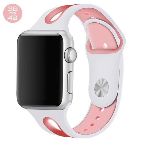 White/Pink Dual Color Silicone iWatch Band 38/40mm