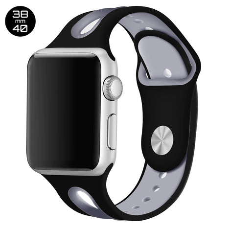 Black/Grey Dual Color Silicone iWatch Band 38/40mm