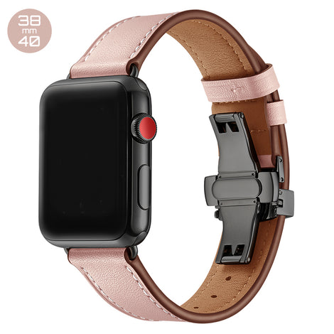Pink Butterfly Buckle Leather iWatch Band 38/40mm