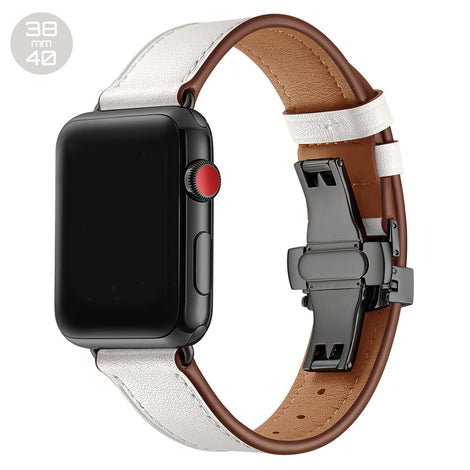 White Butterfly Buckle Leather iWatch Band 38/40mm
