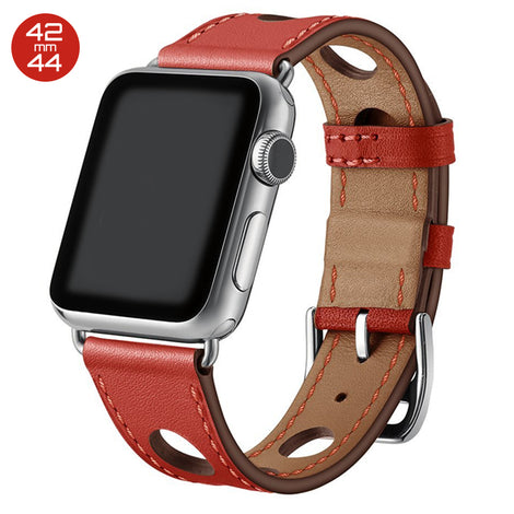 Red 6 Hole Leather iWatch Band 42/44mm
