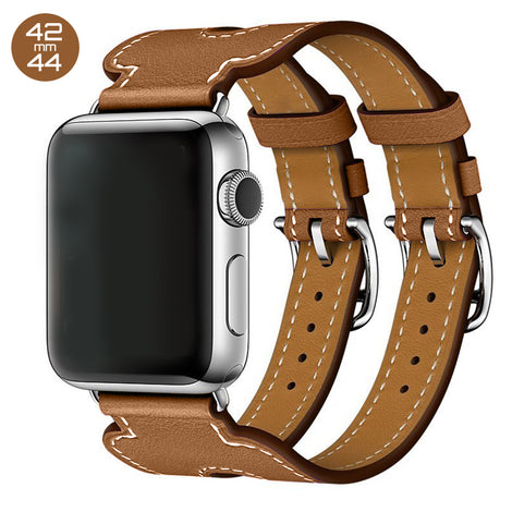Brown Double Cuff Leather iWatch Band 42/44mm