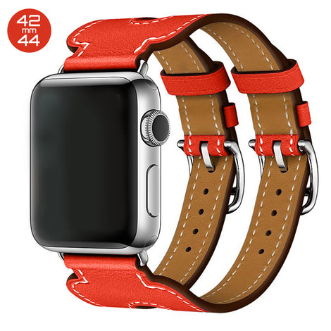 Red Double Cuff Leather iWatch Band 42/44mm