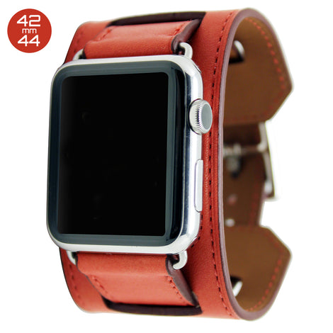 Red Cuff Leather iWatch Band 42/44mm
