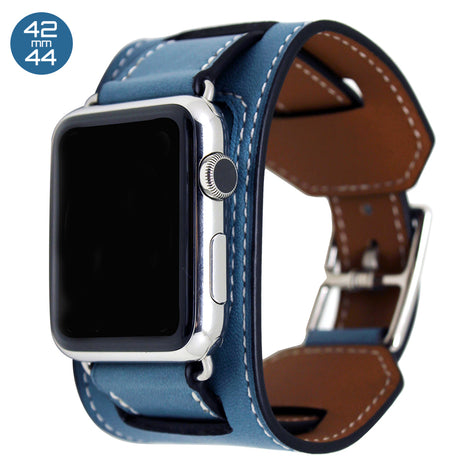 Light Blue Cuff Leather iWatch Band 42/44mm