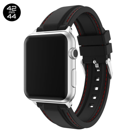 Black Line Sewed Silicone iWatch Band 42/44mm