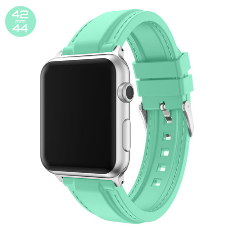 Mint Line Sewed Silicone iWatch Band 42/44mm