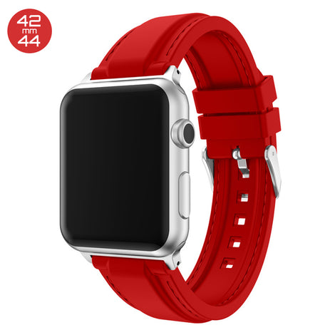 Red Line Sewed Silicone iWatch Band 42/44mm