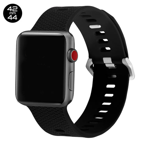 Black Double Buckle Silicone iWatch Band 42/44mm