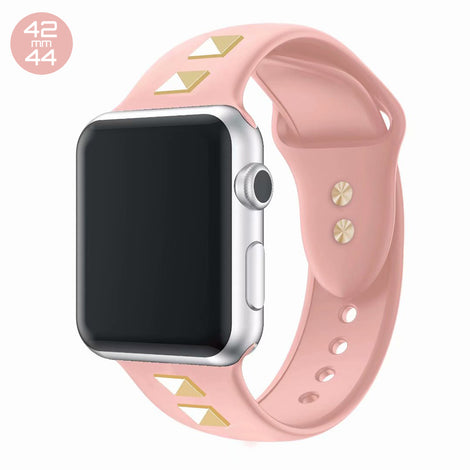 Rose Pink Double Rivet Silicone iWatch Band 42/44mm