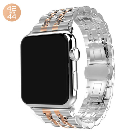 Silver/Rose 7 Bead Stainless Steel iWatch Band 42/44mm
