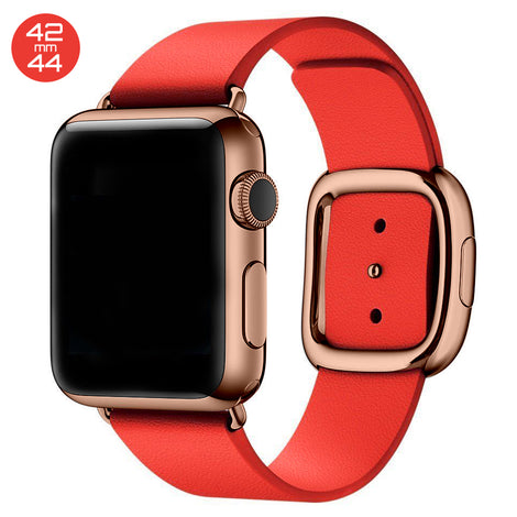 Red Modern Buckle Leather iWatch Band 42/44mm
