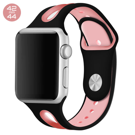 Black/Pink Dual Color Silicone iWatch Band 42/44mm