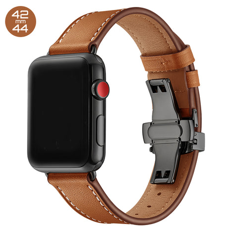 Brown Butterfly Buckle Leather iWatch Band 42/44mm
