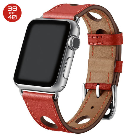 Red 6 Hole Leather iWatch Band 38/40mm