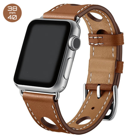 Brown 6 Hole Leather iWatch Band 38/40mm