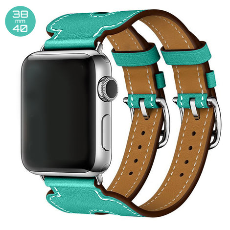 Mint Double Cuff Leather iWatch Band 38/40mm